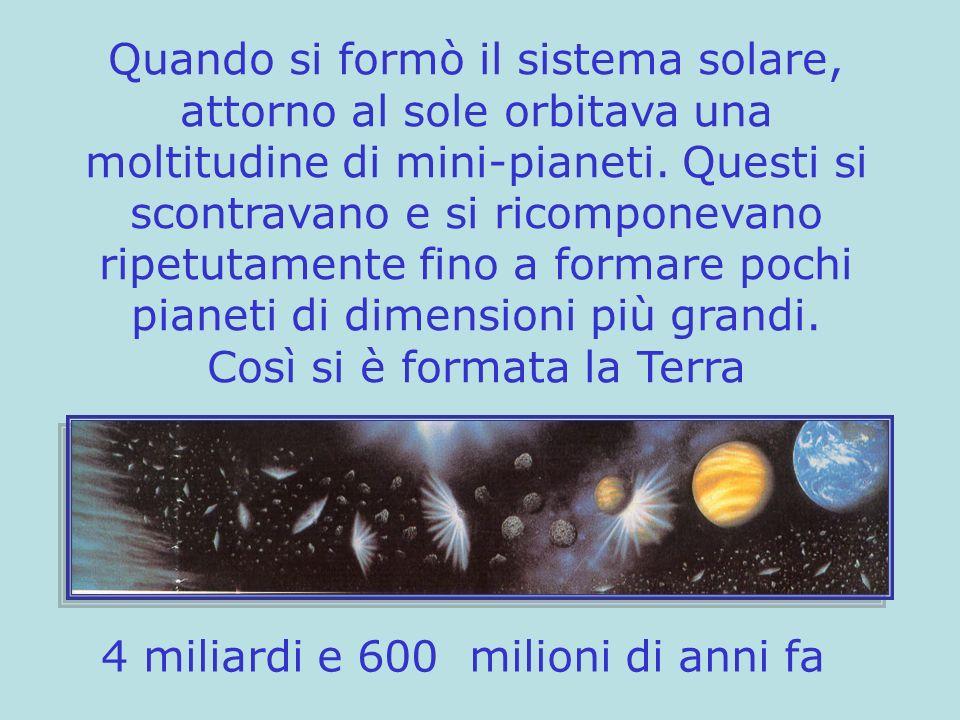 Quando si formò il sistema solare, attorno al sole orbitava una moltitudine di mini-pianeti. Questi si scontravano e si ricomponevano ripetutamente fi