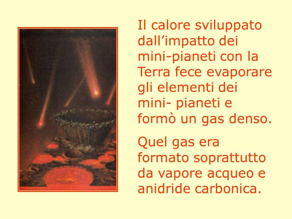 Il calore sviluppato dallimpatto dei mini-pianeti con la Terra fece evaporare gli elementi dei mini- pianeti e formò un gas denso. Quel gas era format