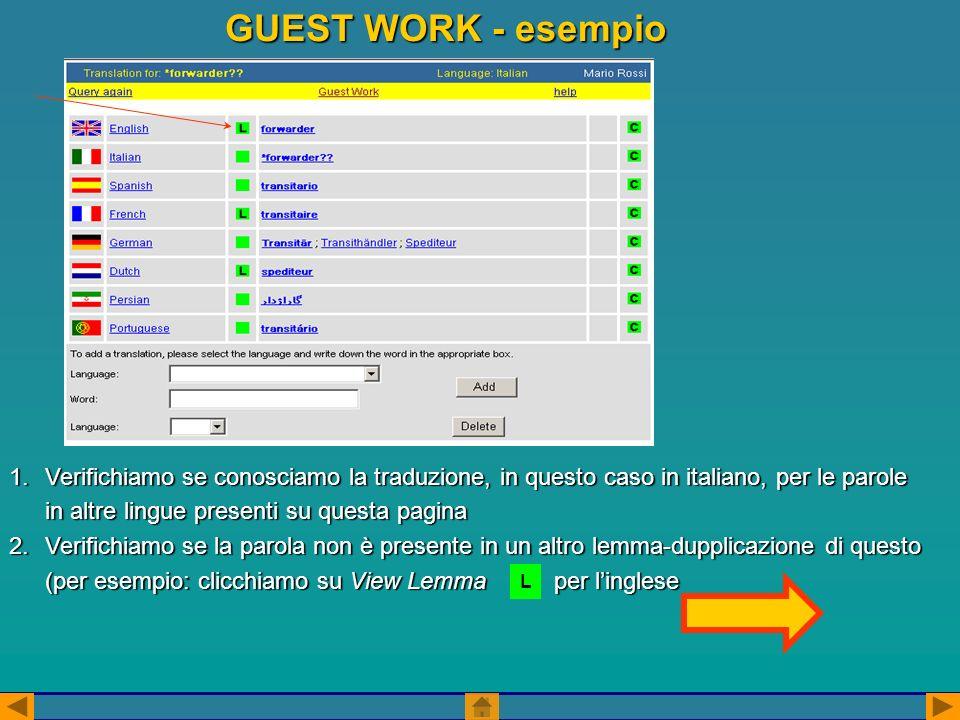 GUEST WORK - esempio 1.Verifichiamo se conosciamo la traduzione, in questo caso in italiano, per le parole in altre lingue presenti su questa pagina 2.Verifichiamo se la parola non è presente in un altro lemma-dupplicazione di questo (per esempio: clicchiamo su View Lemma per linglese L