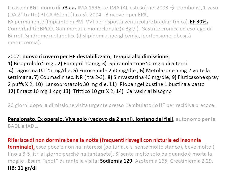 Il caso di BG: uomo di 73 aa. IMA 1996, re-IMA (AL esteso) nel 2003 trombolisi, 1 vaso (DA 2° tratto) PTCA +Stent (Taxus). 2004: 3 ricoveri per EPA, F