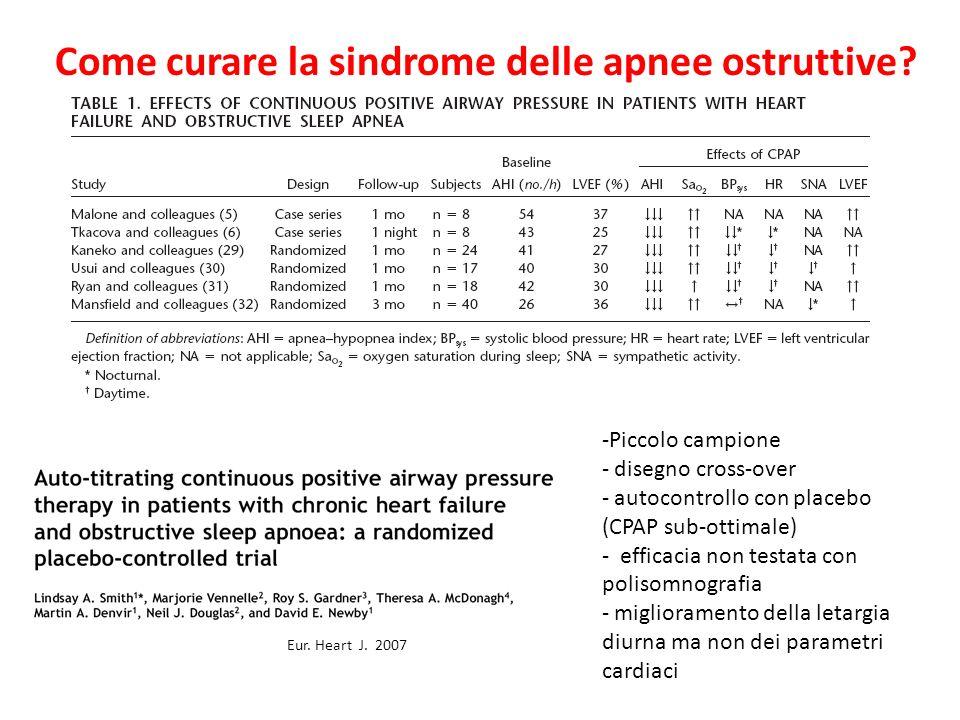 Come curare la sindrome delle apnee ostruttive? Eur. Heart J. 2007 -Piccolo campione - disegno cross-over - autocontrollo con placebo (CPAP sub-ottima
