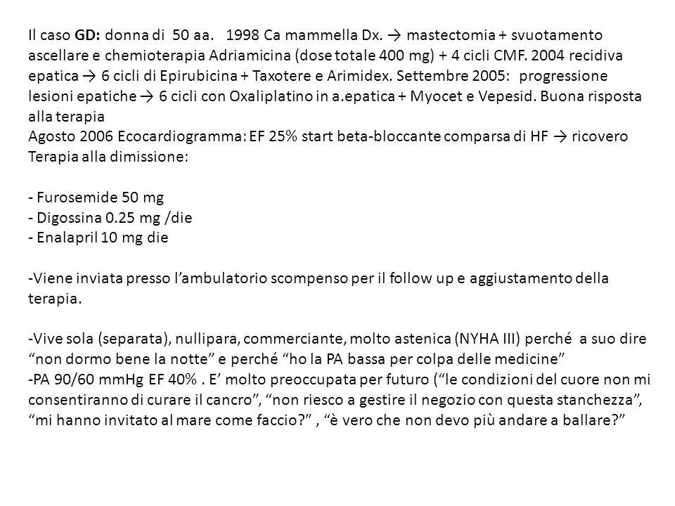 Il caso GD: donna di 50 aa. 1998 Ca mammella Dx. mastectomia + svuotamento ascellare e chemioterapia Adriamicina (dose totale 400 mg) + 4 cicli CMF. 2