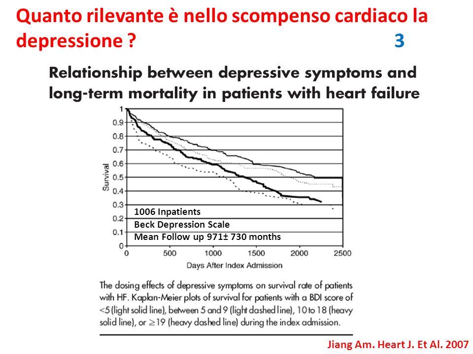 Quanto rilevante è nello scompenso cardiaco la depressione ? 3 Jiang Am. Heart J. Et Al. 2007 1006 Inpatients Beck Depression Scale Mean Follow up 971