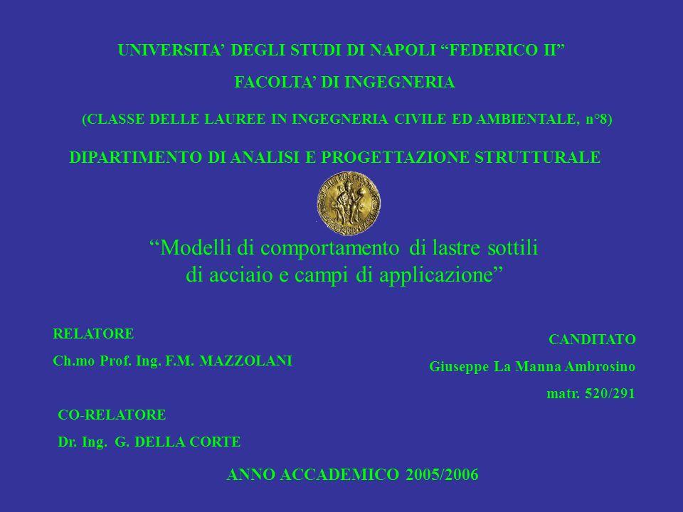 UNIVERSITA DEGLI STUDI DI NAPOLI FEDERICO II FACOLTA DI INGEGNERIA (CLASSE DELLE LAUREE IN INGEGNERIA CIVILE ED AMBIENTALE, n°8) DIPARTIMENTO DI ANALISI E PROGETTAZIONE STRUTTURALE Modelli di comportamento di lastre sottili di acciaio e campi di applicazione RELATORE Ch.mo Prof.