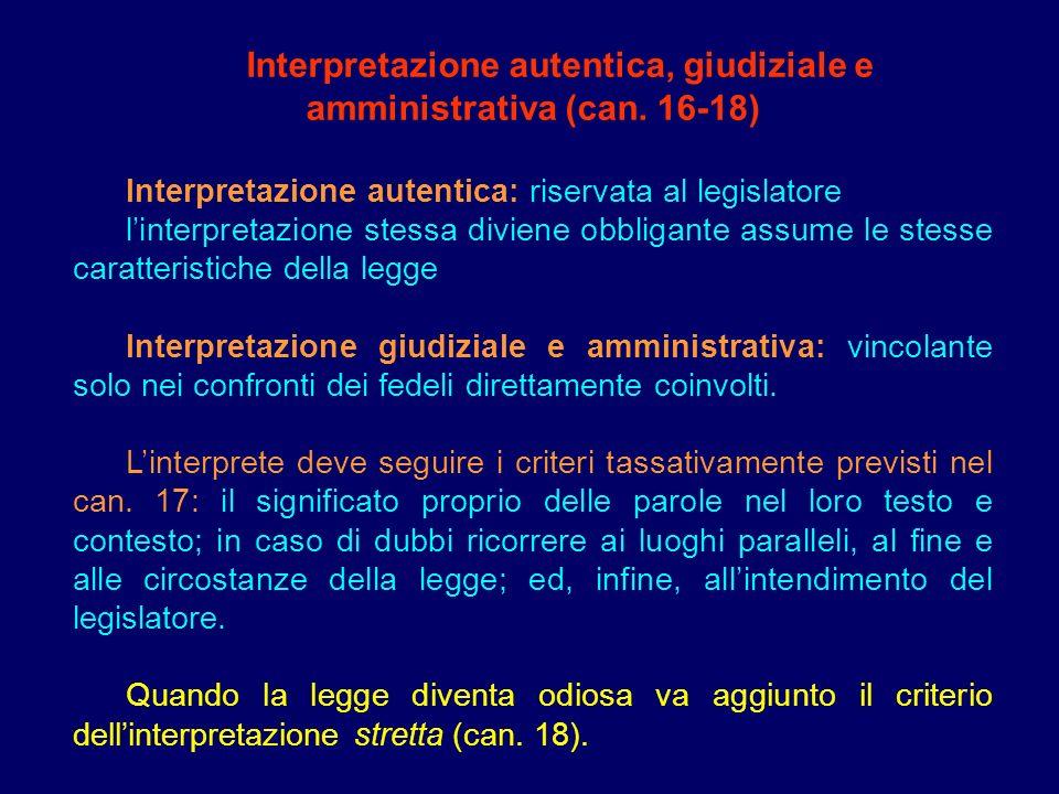 Interpretazione autentica, giudiziale e amministrativa (can. 16-18) Interpretazione autentica: riservata al legislatore linterpretazione stessa divien