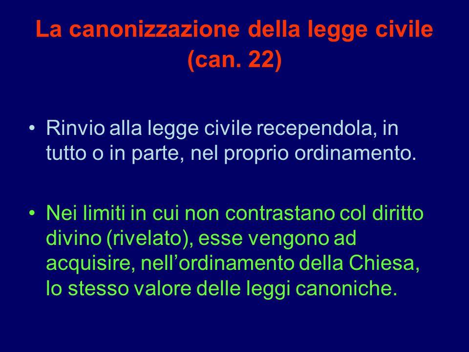 La canonizzazione della legge civile (can. 22) Rinvio alla legge civile recependola, in tutto o in parte, nel proprio ordinamento. Nei limiti in cui n