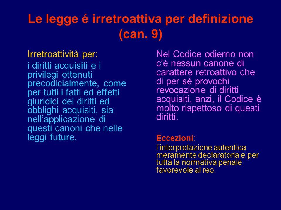 Le legge é irretroattiva per definizione (can. 9) Irretroattività per: i diritti acquisiti e i privilegi ottenuti precodicialmente, come per tutti i f