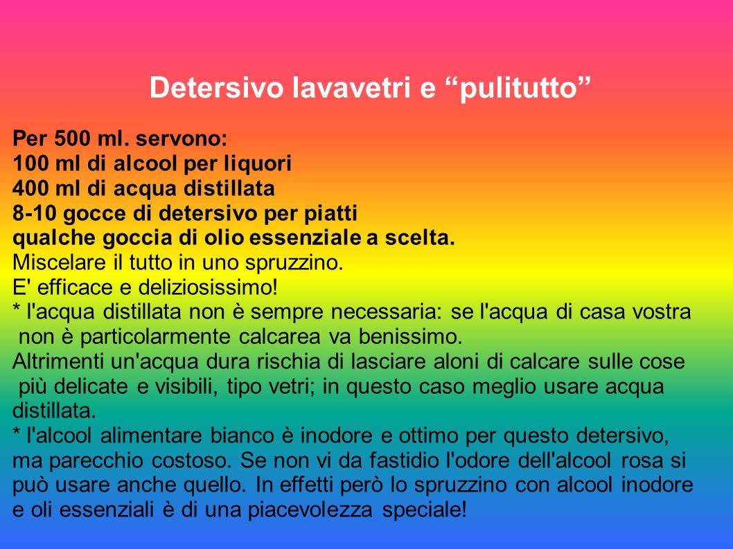 Detersivo lavavetri e pulitutto Per 500 ml. servono: 100 ml di alcool per liquori 400 ml di acqua distillata 8-10 gocce di detersivo per piatti qualch
