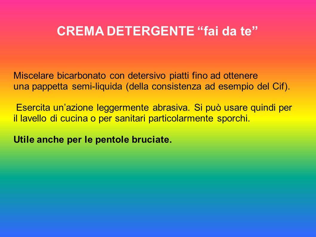 CREMA DETERGENTE fai da te Miscelare bicarbonato con detersivo piatti fino ad ottenere una pappetta semi-liquida (della consistenza ad esempio del Cif).