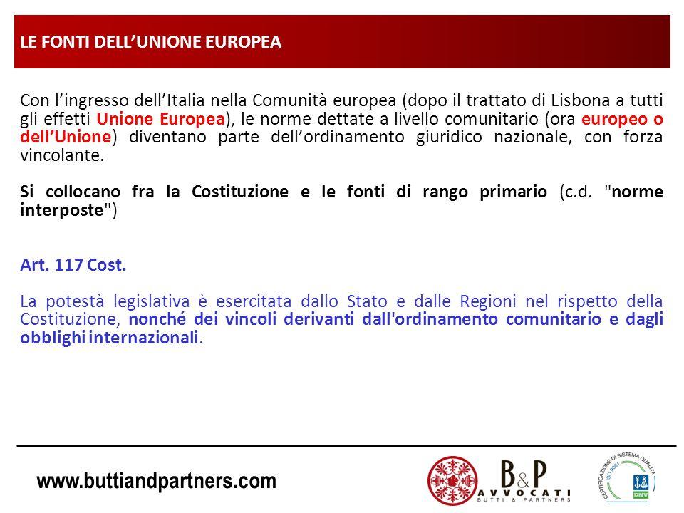 www.buttiandpartners.com LE FONTI DELLUNIONE EUROPEA Con lingresso dellItalia nella Comunità europea (dopo il trattato di Lisbona a tutti gli effetti
