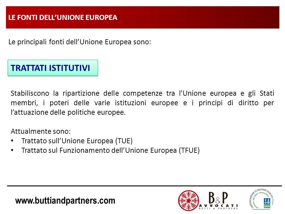 www.buttiandpartners.com LE FONTI DELLUNIONE EUROPEA Le principali fonti dellUnione Europea sono: TRATTATI ISTITUTIVI Stabiliscono la ripartizione del