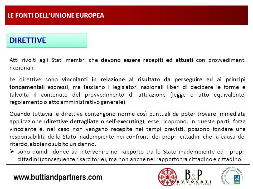 www.buttiandpartners.com LE FONTI DELLUNIONE EUROPEA DIRETTIVE Atti rivolti agli Stati membri che devono essere recepiti ed attuati con provvedimenti