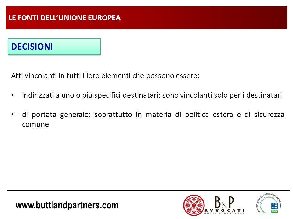 www.buttiandpartners.com LE FONTI DELLUNIONE EUROPEA DECISIONI Atti vincolanti in tutti i loro elementi che possono essere: indirizzati a uno o più sp