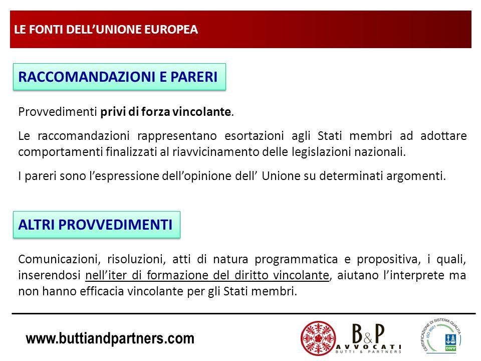 www.buttiandpartners.com LE FONTI DELLUNIONE EUROPEA RACCOMANDAZIONI E PARERI Provvedimenti privi di forza vincolante. Le raccomandazioni rappresentan