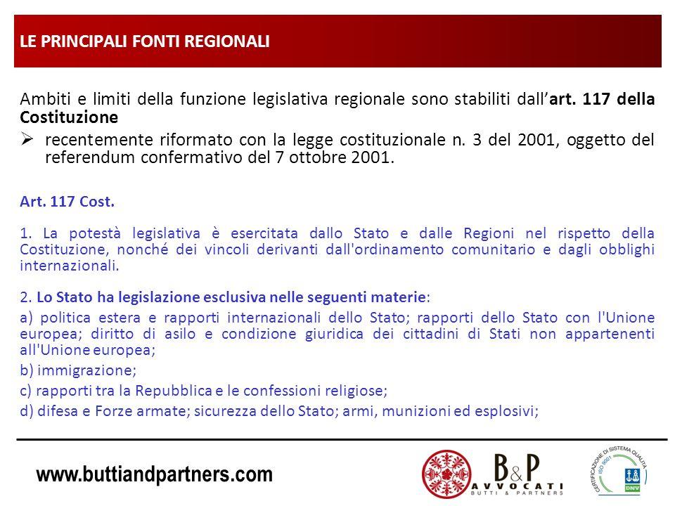 www.buttiandpartners.com LE PRINCIPALI FONTI REGIONALI Ambiti e limiti della funzione legislativa regionale sono stabiliti dallart. 117 della Costituz