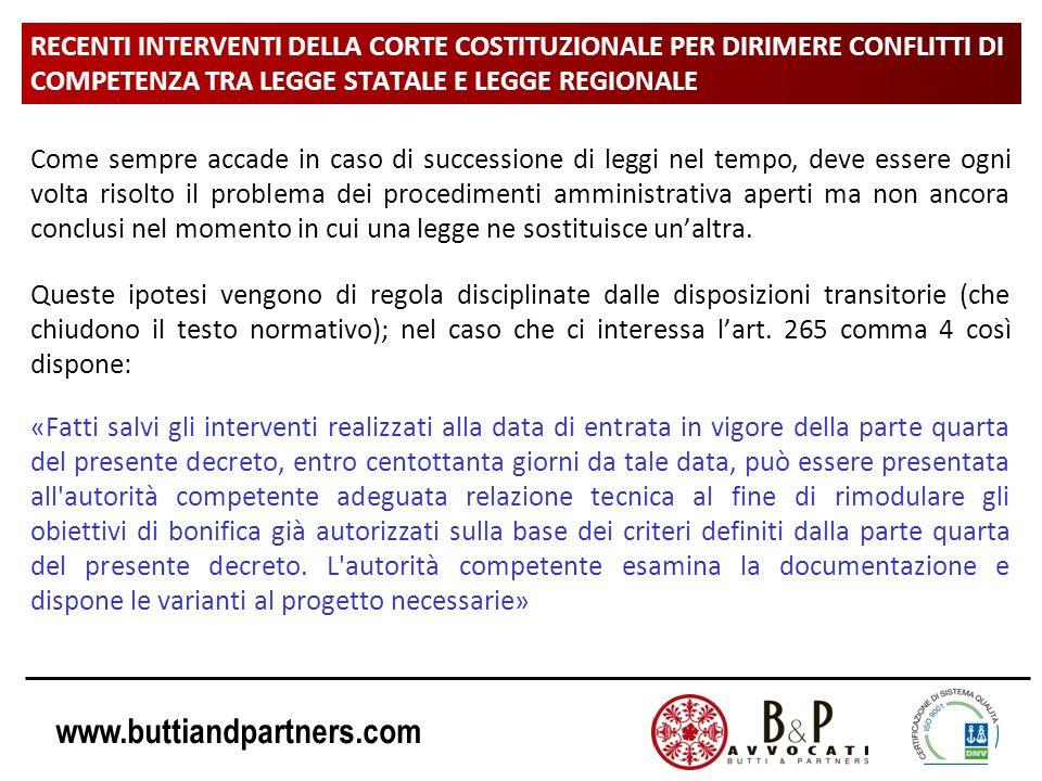 www.buttiandpartners.com RECENTI INTERVENTI DELLA CORTE COSTITUZIONALE PER DIRIMERE CONFLITTI DI COMPETENZA TRA LEGGE STATALE E LEGGE REGIONALE Come s