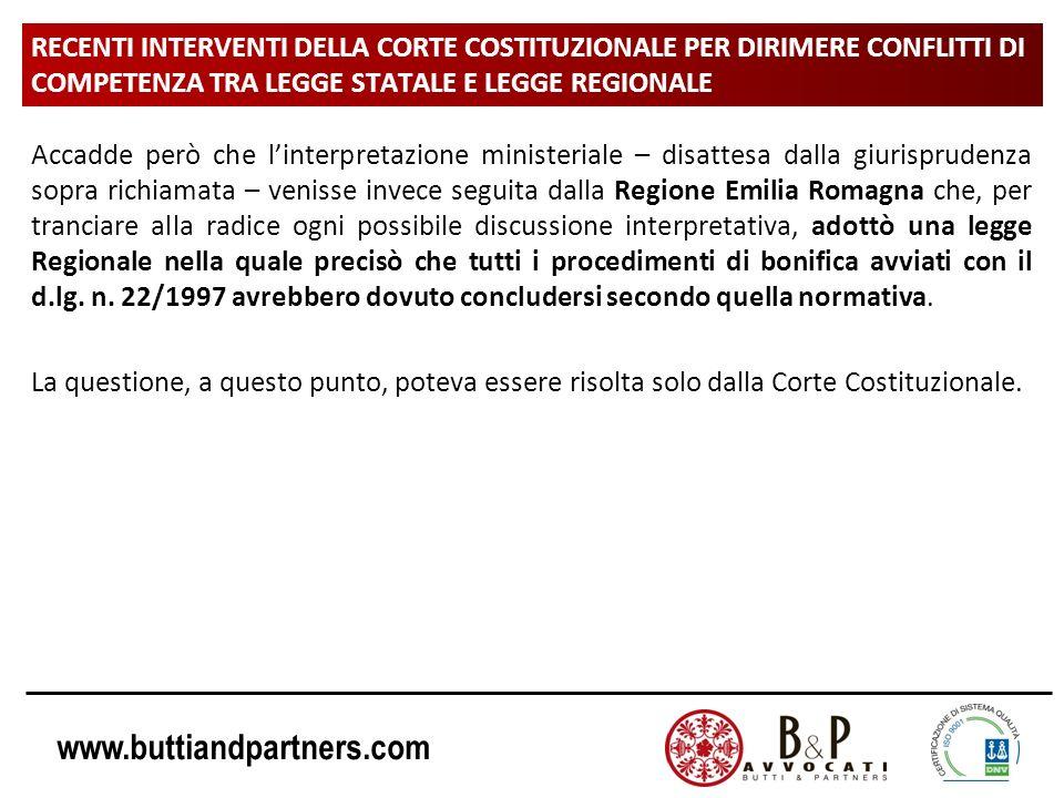 www.buttiandpartners.com RECENTI INTERVENTI DELLA CORTE COSTITUZIONALE PER DIRIMERE CONFLITTI DI COMPETENZA TRA LEGGE STATALE E LEGGE REGIONALE Accadd