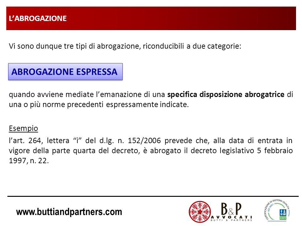 www.buttiandpartners.com LABROGAZIONE Vi sono dunque tre tipi di abrogazione, riconducibili a due categorie: quando avviene mediate lemanazione di una