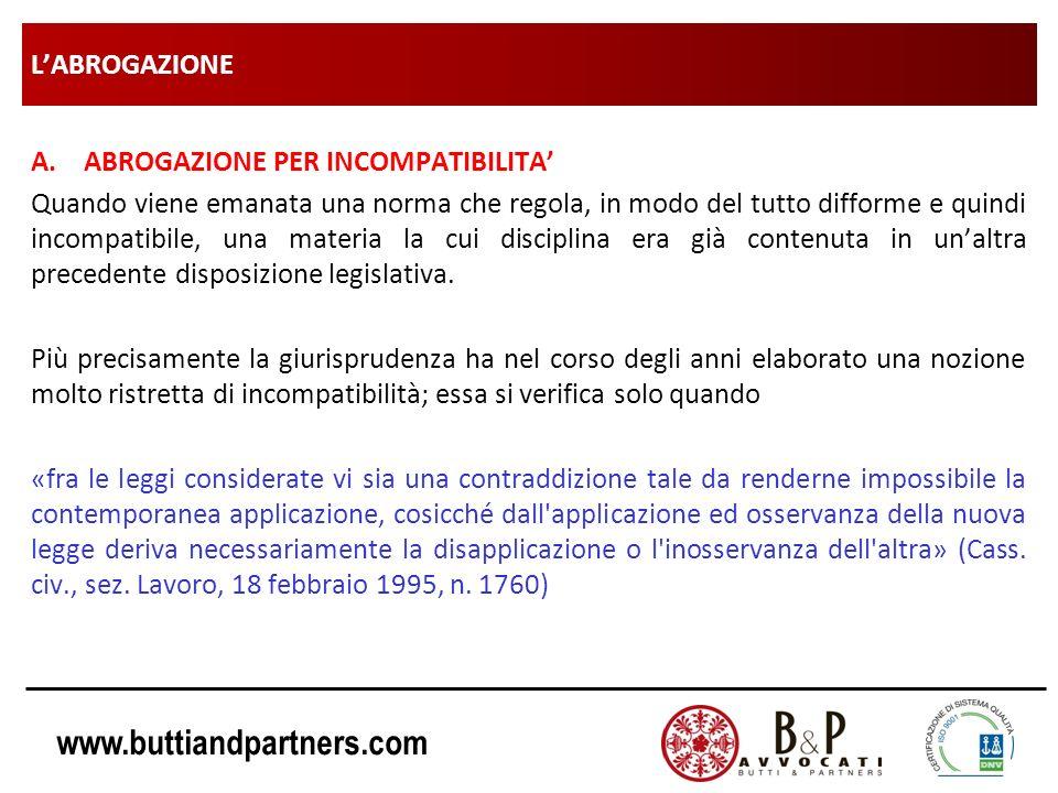 www.buttiandpartners.com LABROGAZIONE A.ABROGAZIONE PER INCOMPATIBILITA Quando viene emanata una norma che regola, in modo del tutto difforme e quindi
