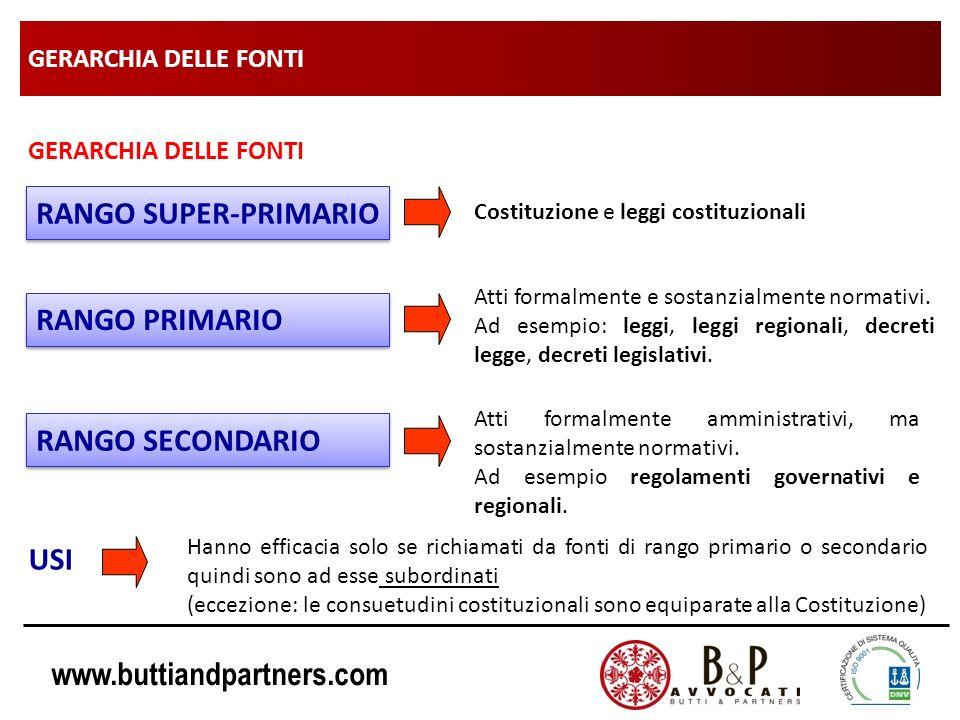 www.buttiandpartners.com GERARCHIA DELLE FONTI USI RANGO PRIMARIO Atti formalmente e sostanzialmente normativi. Ad esempio: leggi, leggi regionali, de