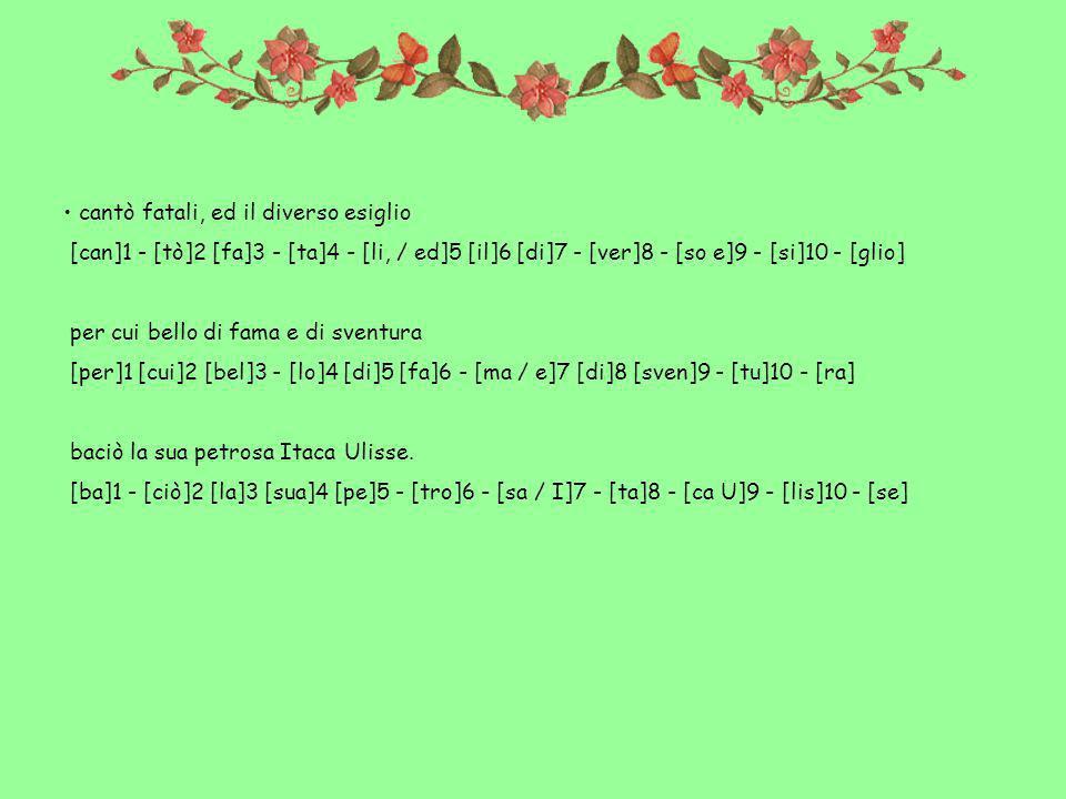 cantò fatali, ed il diverso esiglio [can]1 - [tò]2 [fa]3 - [ta]4 - [li, / ed]5 [il]6 [di]7 - [ver]8 - [so e]9 - [si]10 - [glio] per cui bello di fama e di sventura [per]1 [cui]2 [bel]3 - [lo]4 [di]5 [fa]6 - [ma / e]7 [di]8 [sven]9 - [tu]10 - [ra] baciò la sua petrosa Itaca Ulisse.
