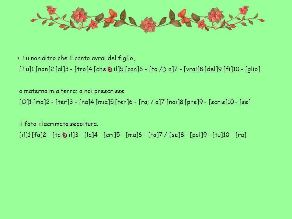 Tu non altro che il canto avrai del figlio, Ð [Tu]1 [non]2 [al]3 - [tro]4 [che Ð il]5 [can]6 - [to /Ð a]7 - [vrai]8 [del]9 [fi]10 - [glio] o materna mia terra; a noi prescrisse [O]1 [ma]2 - [ter]3 - [na]4 [mia]5 [ter]6 - [ra; / a]7 [noi]8 [pre]9 - [scris]10 - [se] il fato illacrimata sepoltura.