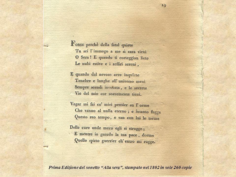 Prima Edizione del sonetto Alla sera, stampato nel 1802 in sole 260 copie