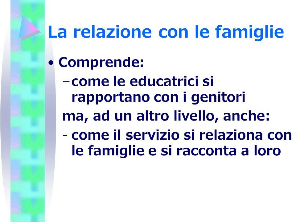 La relazione con le famiglie Comprende: –come le educatrici si rapportano con i genitori ma, ad un altro livello, anche: -come il servizio si relazion