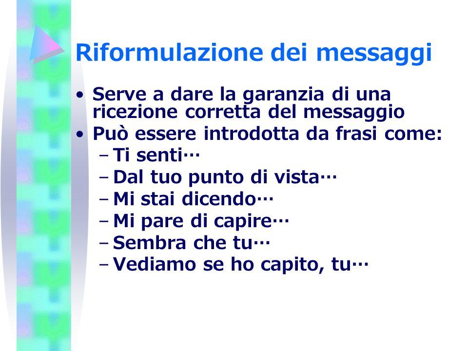 Riformulazione dei messaggi Serve a dare la garanzia di una ricezione corretta del messaggio Può essere introdotta da frasi come: –Ti senti… –Dal tuo