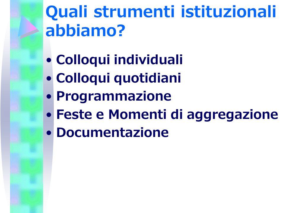Quali strumenti istituzionali abbiamo? Colloqui individuali Colloqui quotidiani Programmazione Feste e Momenti di aggregazione Documentazione