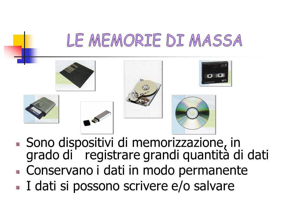 Sono dispositivi di memorizzazione, in grado di registrare grandi quantità di dati Conservano i dati in modo permanente I dati si possono scrivere e/o