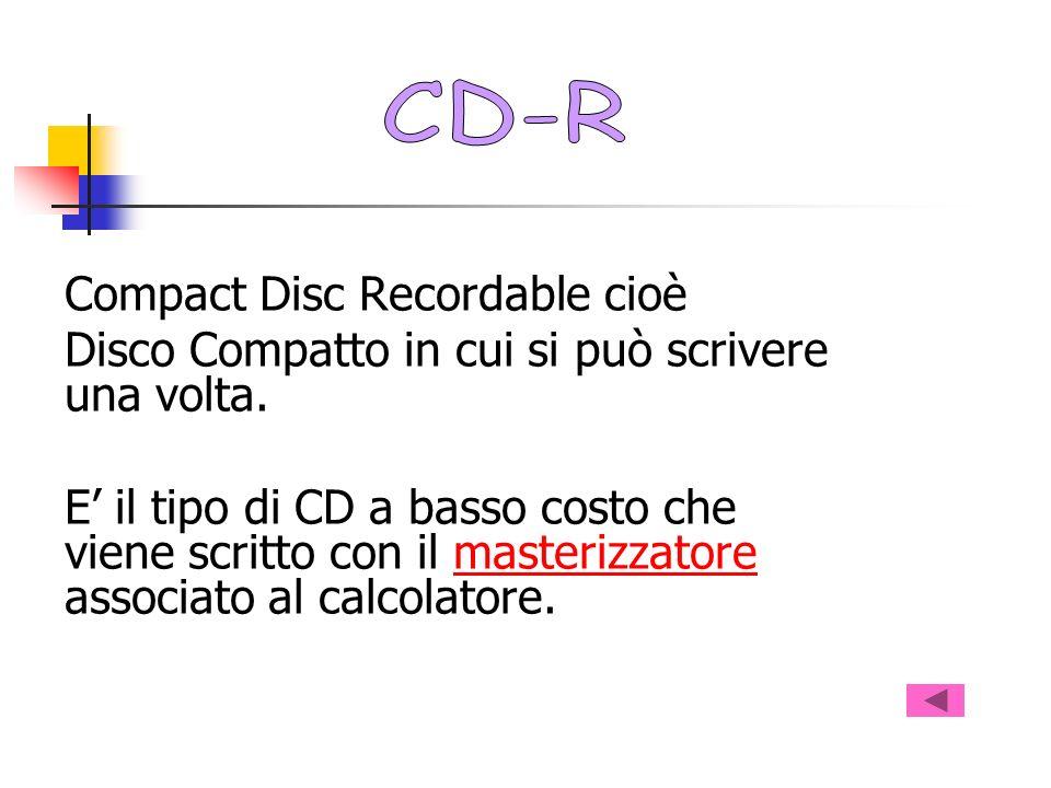 Compact Disc Recordable cioè Disco Compatto in cui si può scrivere una volta. E il tipo di CD a basso costo che viene scritto con il masterizzatore as