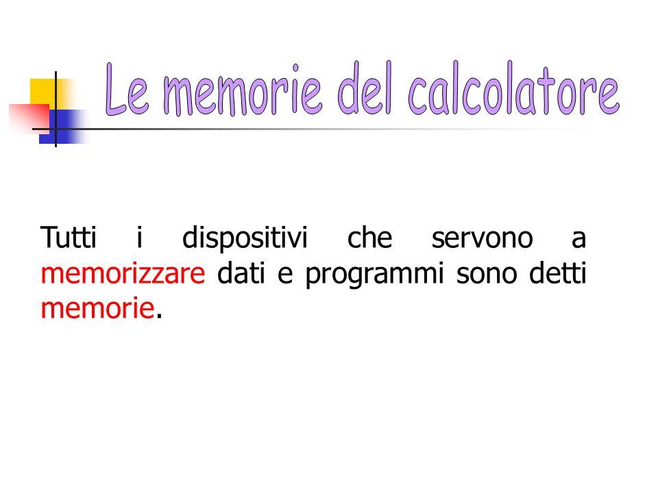 Tutti i dispositivi che servono a memorizzare dati e programmi sono detti memorie.