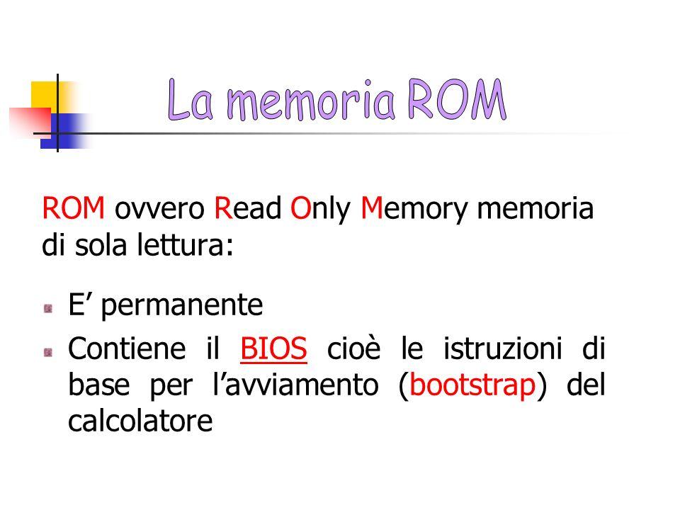 ROM ovvero Read Only Memory memoria di sola lettura: E permanente Contiene il BIOS cioè le istruzioni di base per lavviamento (bootstrap) del calcolat