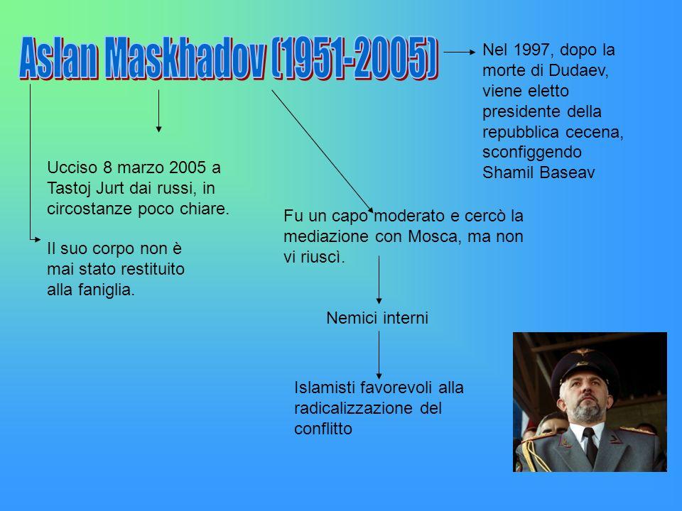 Ucciso 8 marzo 2005 a Tastoj Jurt dai russi, in circostanze poco chiare. Nel 1997, dopo la morte di Dudaev, viene eletto presidente della repubblica c