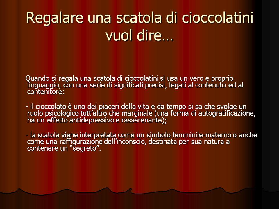 Regalare una scatola di cioccolatini vuol dire… Quando si regala una scatola di cioccolatini si usa un vero e proprio linguaggio, con una serie di significati precisi, legati al contenuto ed al contenitore: - il cioccolato è uno dei piaceri della vita e da tempo si sa che svolge un ruolo psicologico tuttaltro che marginale (una forma di autogratificazione, ha un effetto antidepressivo e rasserenante); - la scatola viene interpretata come un simbolo femminile-materno o anche come una raffigurazione dellinconscio, destinata per sua natura a contenere un segreto.