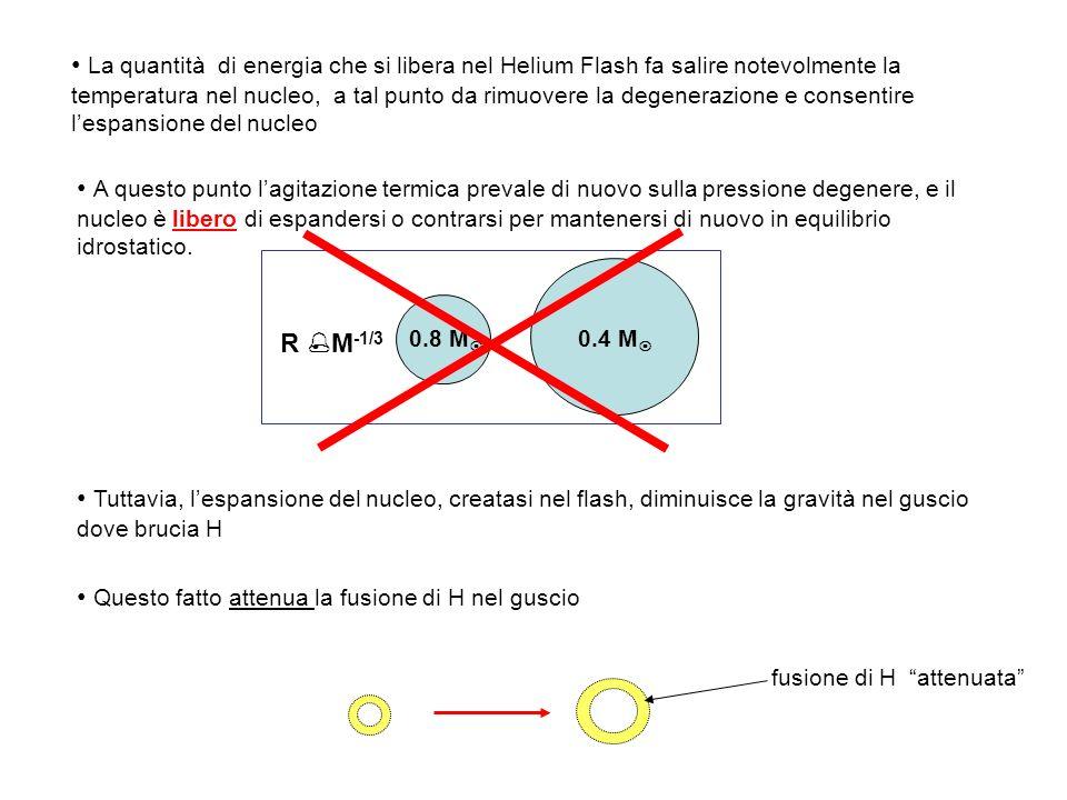La quantità di energia che si libera nel Helium Flash fa salire notevolmente la temperatura nel nucleo, a tal punto da rimuovere la degenerazione e co
