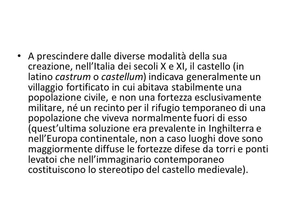 A prescindere dalle diverse modalità della sua creazione, nellItalia dei secoli X e XI, il castello (in latino castrum o castellum) indicava generalme