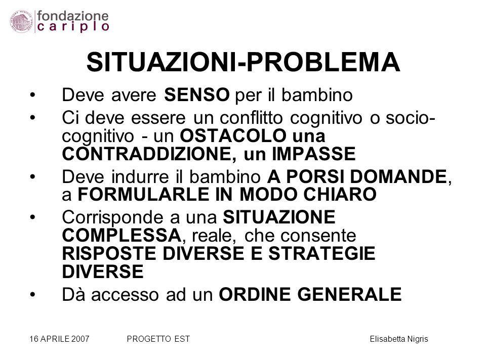 SITUAZIONI-PROBLEMA Deve avere SENSO per il bambino Ci deve essere un conflitto cognitivo o socio- cognitivo - un OSTACOLO una CONTRADDIZIONE, un IMPA