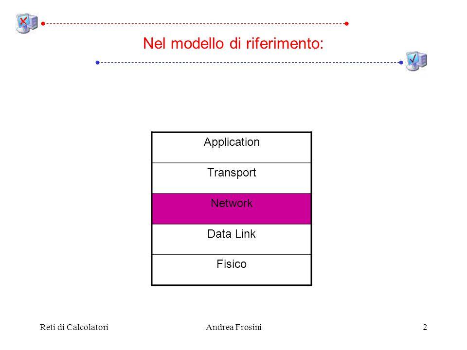 Reti di CalcolatoriAndrea Frosini13 Gli algoritmi closed loop utilizzati nelle subnet a commutazione di pacchetto possono essere utilizzati anche nelle subnet con circuiti virtuali In ogni algoritmo closed loop, ciascun router monitorizza lutilizzo delle sue linee di comunicazione e delle altre sue risorse Ad esempio, si associa a ciascuna linea una variabile reale u che rappresenta il suo utilizzo; ad intervalli regolari la linea viene monitorata e la variabile aggiornata: u new = a × u old + (1 - a) × f f rappresenta lutilizzo istantaneo della linea, ed a (0, 1) il peso che viene dato alla storia passata Controllo della congestione in subnet basate su datagram