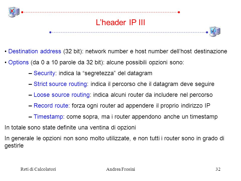 Reti di CalcolatoriAndrea Frosini32 Lheader IP III Destination address (32 bit): network number e host number dellhost destinazione Options (da 0 a 10