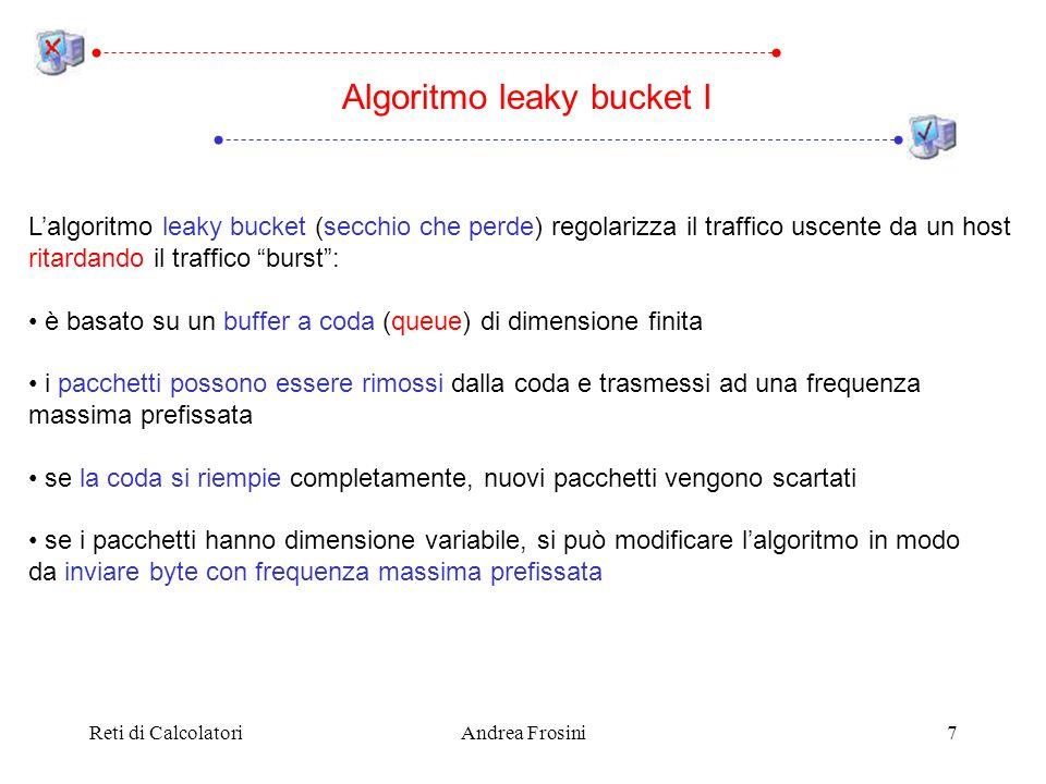 Reti di CalcolatoriAndrea Frosini8 Algoritmo leaky bucket II Host Livello Fisico