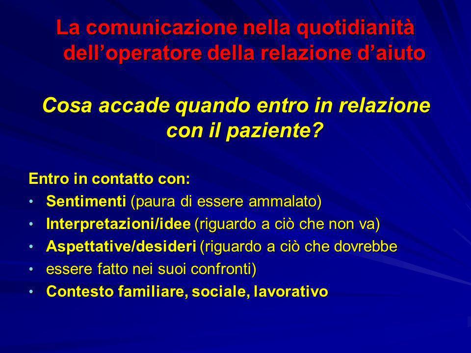 La comunicazione nella quotidianità delloperatore della relazione daiuto Cosa accade quando entro in relazione con il paziente? Entro in contatto con: