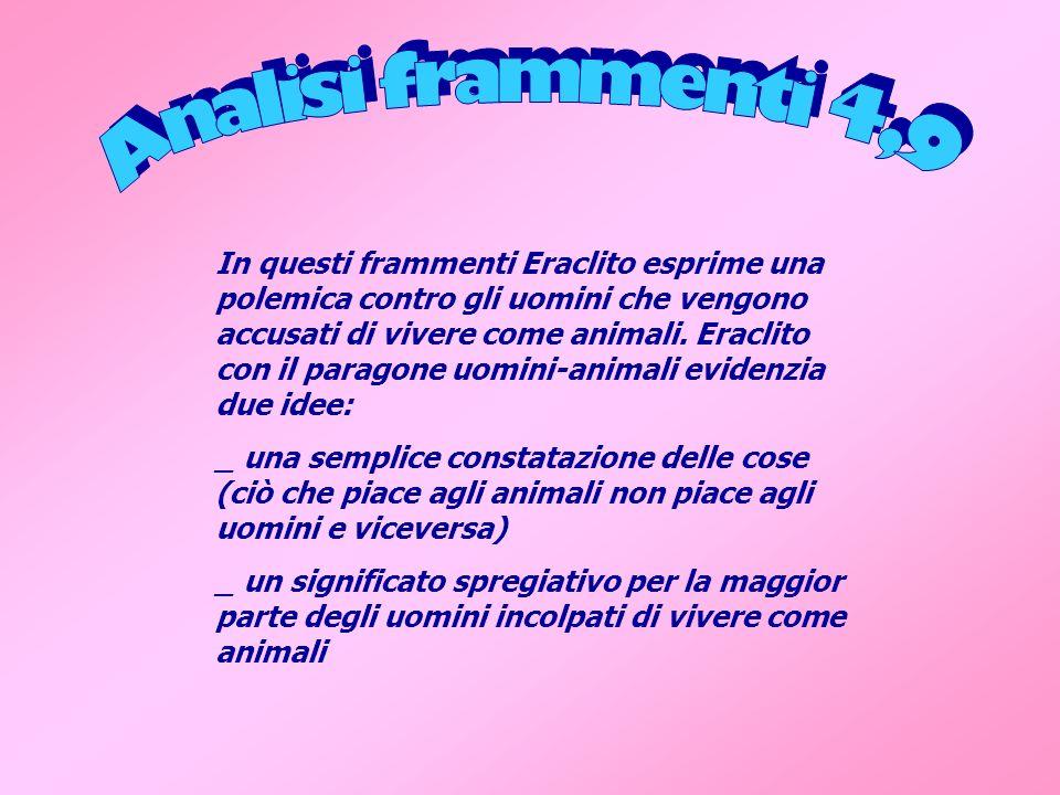 In questi frammenti Eraclito esprime una polemica contro gli uomini che vengono accusati di vivere come animali. Eraclito con il paragone uomini-anima