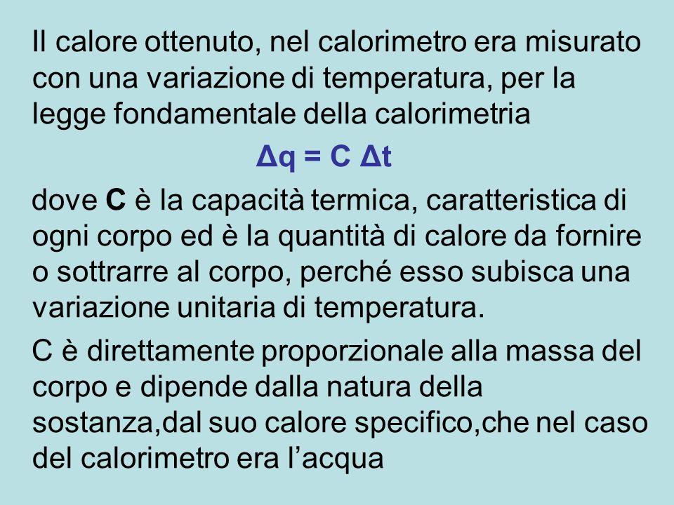 Il calore ottenuto, nel calorimetro era misurato con una variazione di temperatura, per la legge fondamentale della calorimetria Δq = C Δt dove C è la