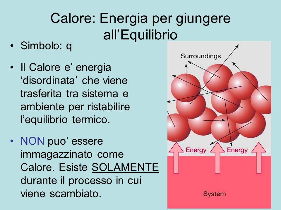 22 Simbolo: q Il Calore e energia disordinata che viene trasferita tra sistema e ambiente per ristabilire lequilibrio termico. NON puo essere immagazz