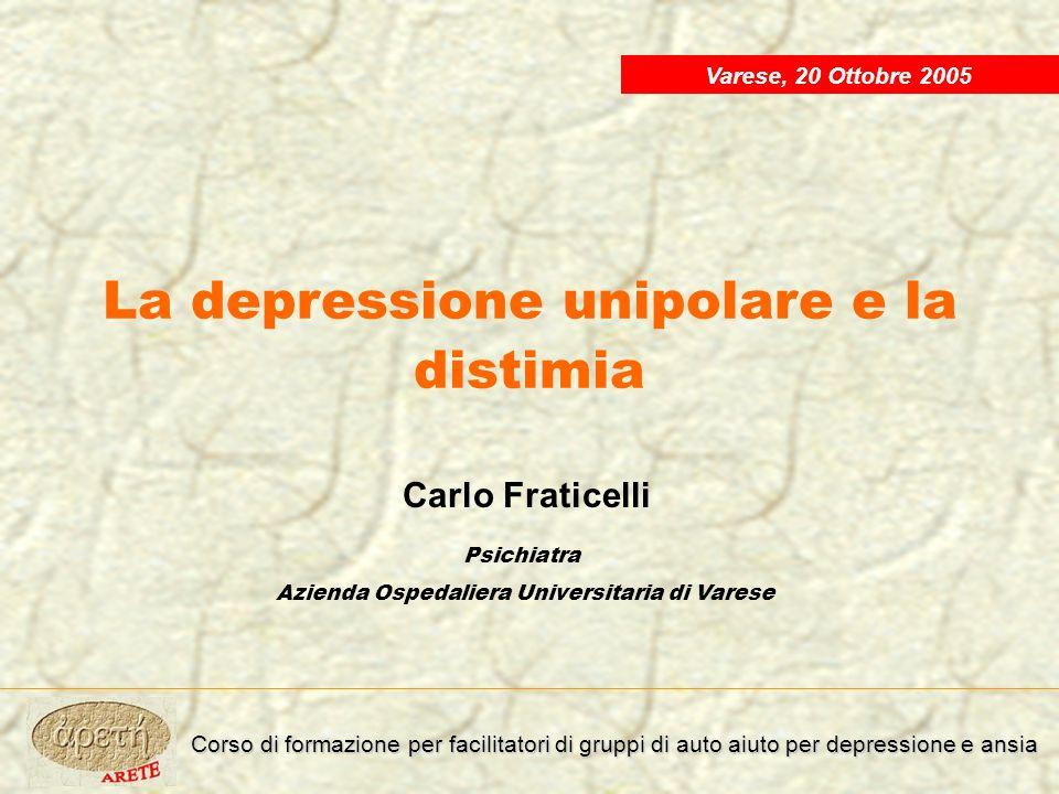 Classificazione delle Sindromi Depressive Depressione maggiore: episodio singolo Depressione maggiore ricorrente Disturbo bipolare Distimia Reazioni depressive Depressioni secondarie a malattie organiche Depressioni indotte da farmaci