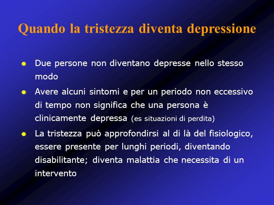 Due persone non diventano depresse nello stesso modo Avere alcuni sintomi e per un periodo non eccessivo di tempo non significa che una persona è clin