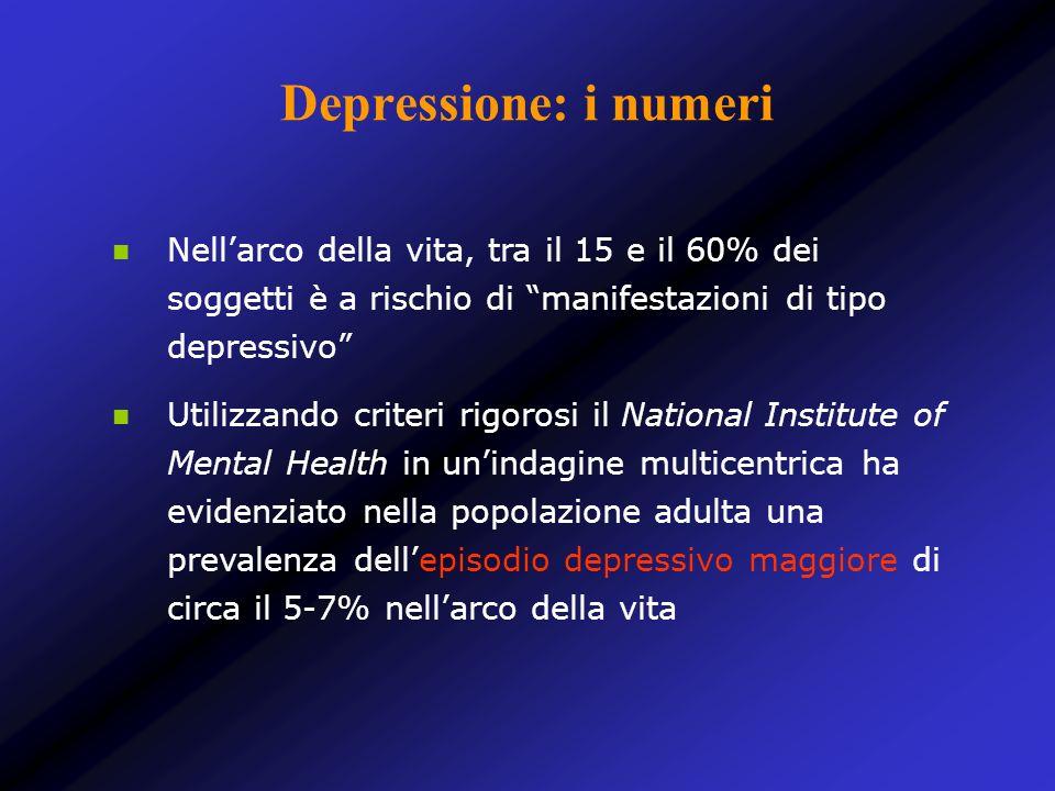 Depressione: i numeri Nellarco della vita, tra il 15 e il 60% dei soggetti è a rischio di manifestazioni di tipo depressivo Utilizzando criteri rigoro