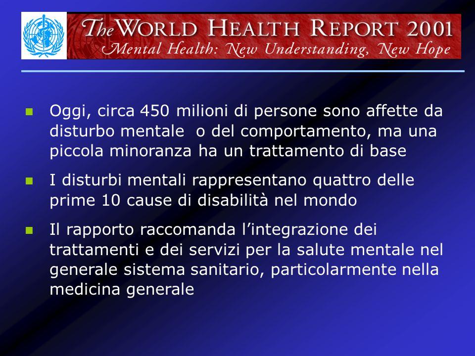 Prevalenza lifetime in Italia Alonso et al, 2003 Nellarco della propria vita circa un quinto del campione studiato ha sofferto in qualche momento di un disturbo mentale o abuso/dipendenza ESEMeD